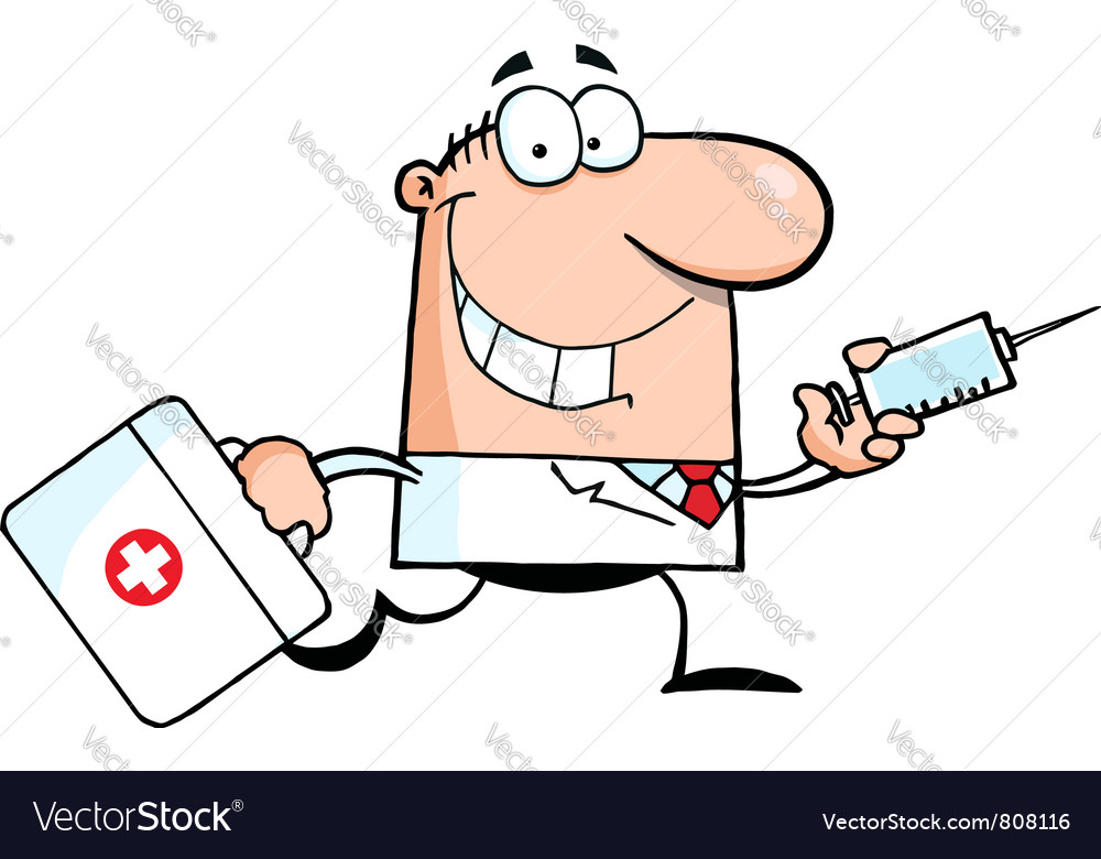 Doctor Running With A Syringe