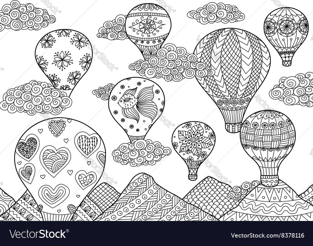 Hot air balloon coloring vector image