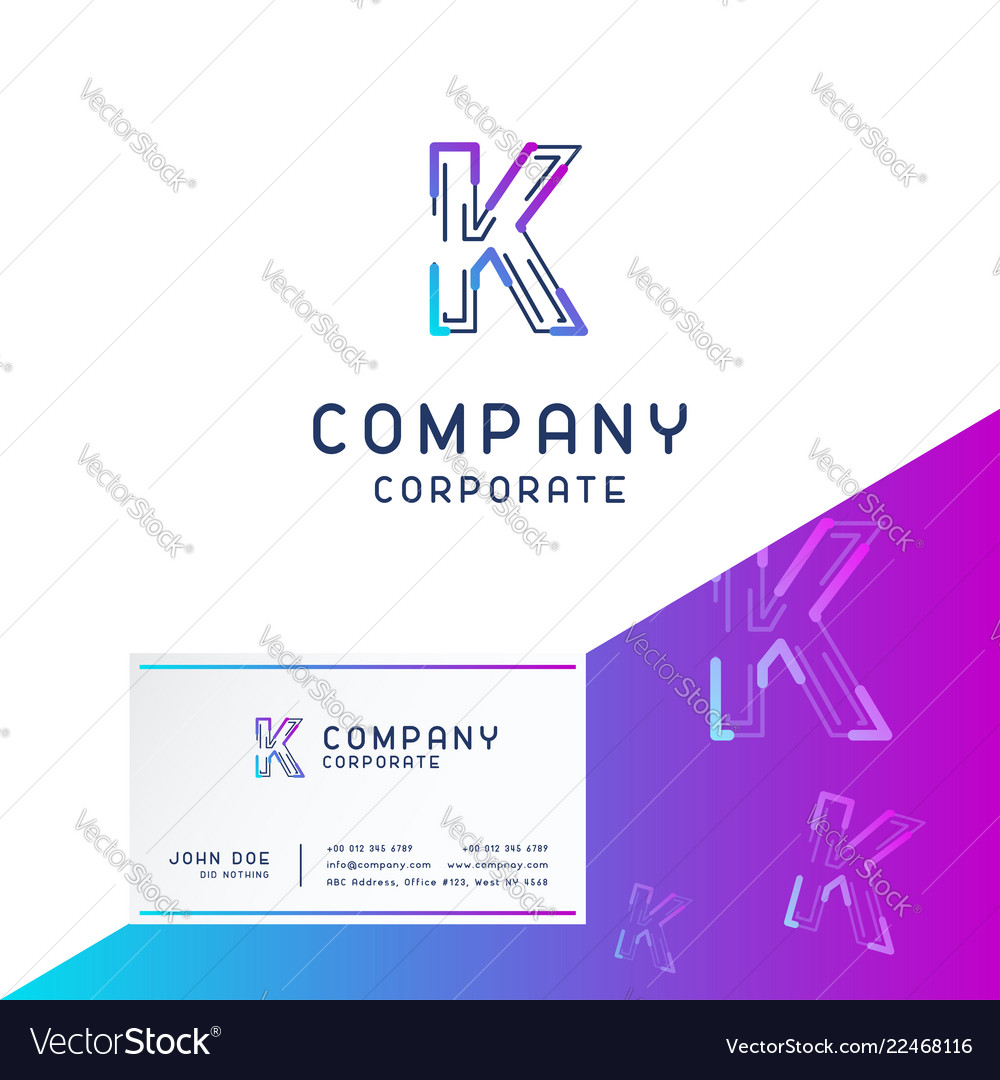 K company logo design with visiting card