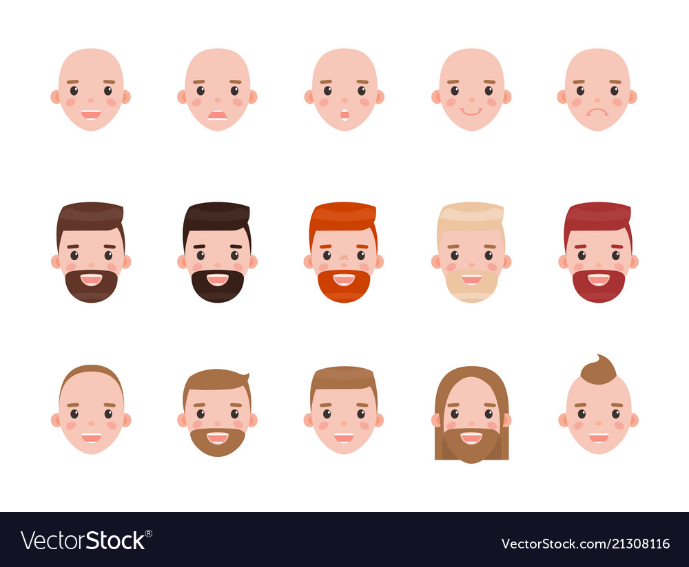 Male heads with various hairstyles and mood set