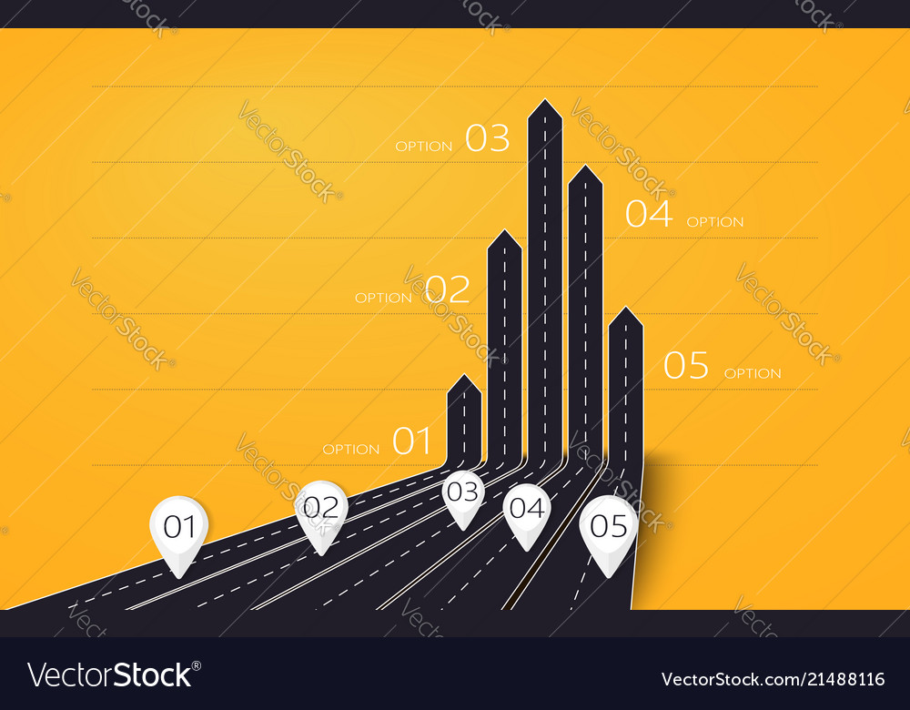 Modern 3d arrow roads map of business and journey