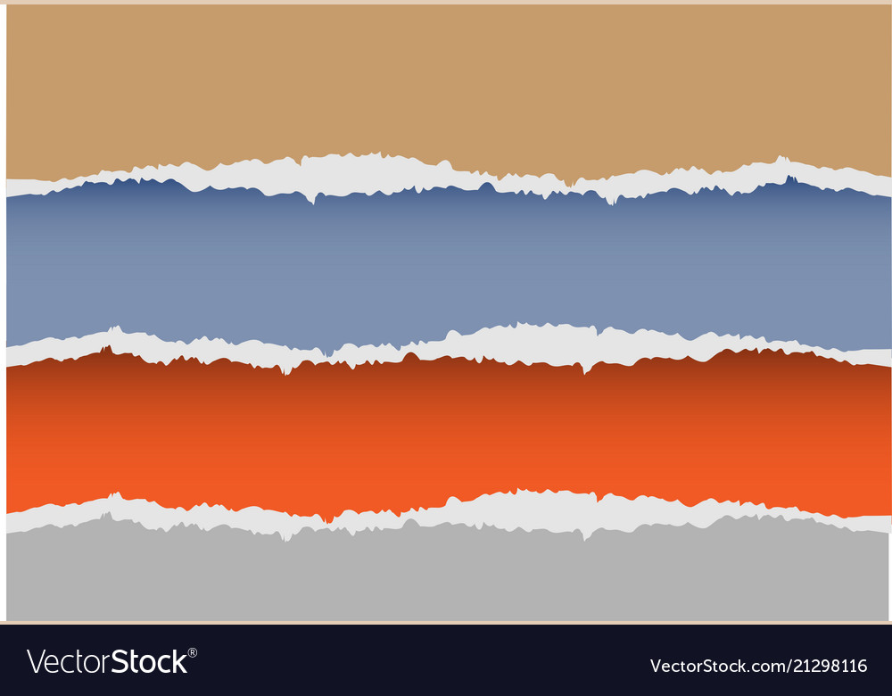 Realistic brown blue orange gray paper torn vector image