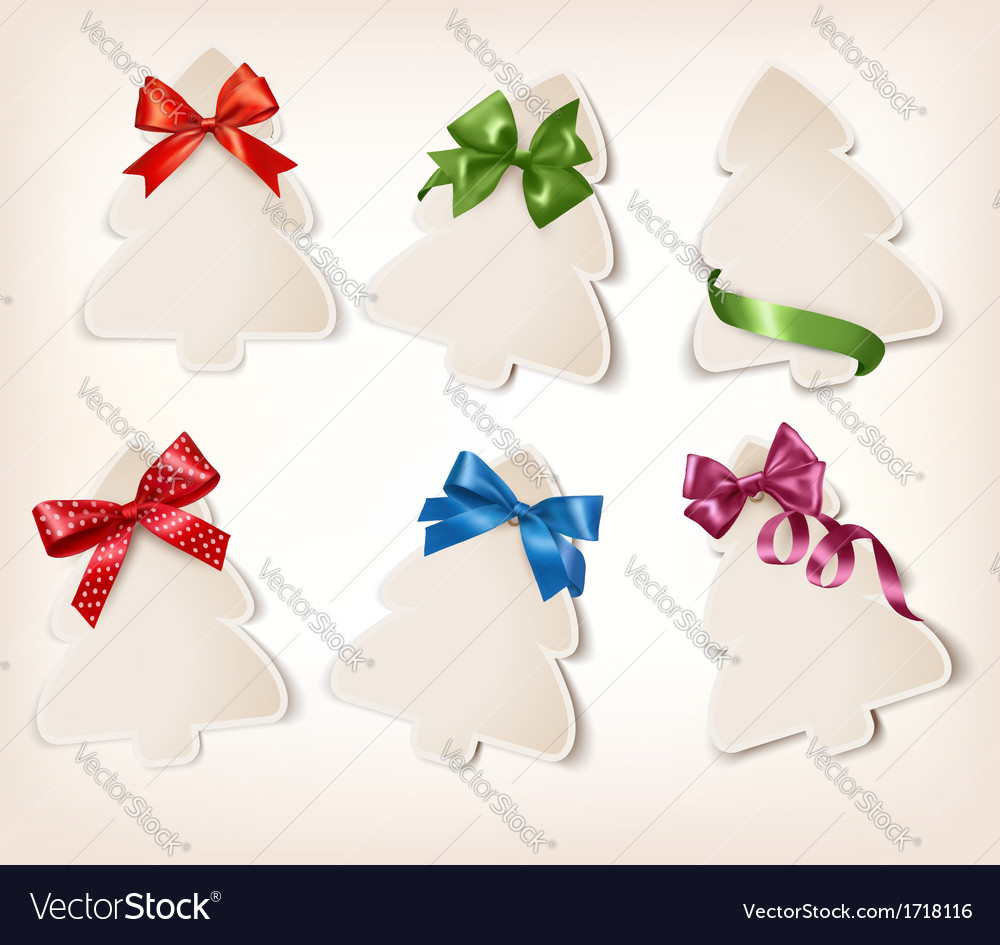 Set of beautiful gift cards with gift bows with