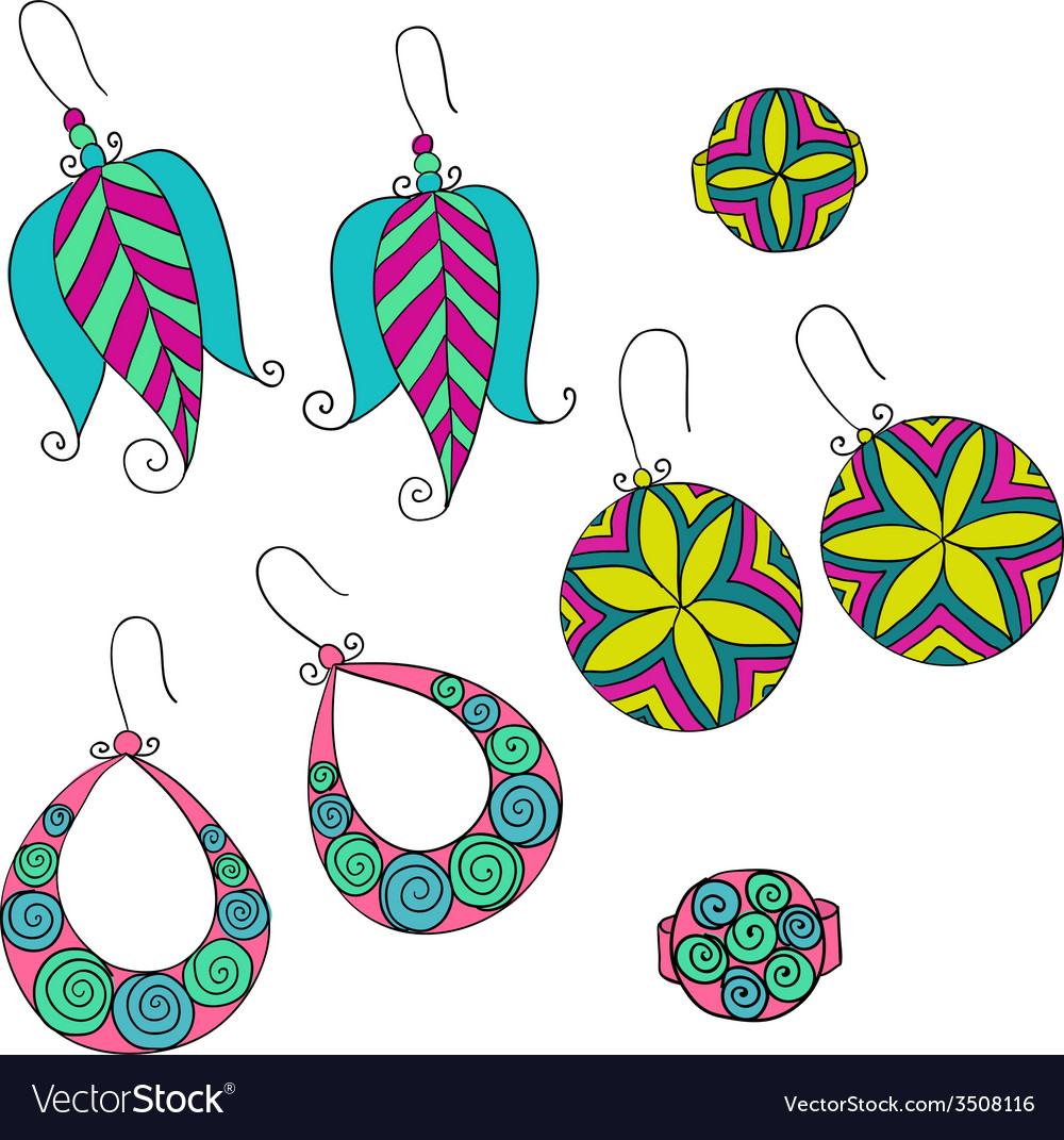 Set of different female earrings