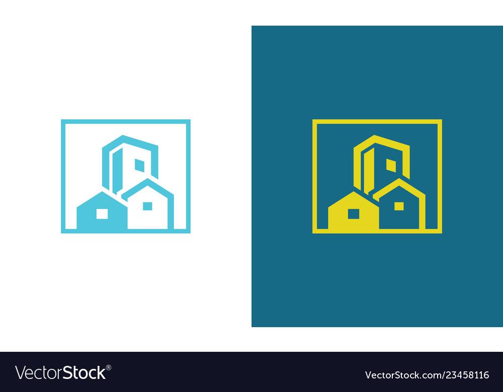 Square building citysccape logo