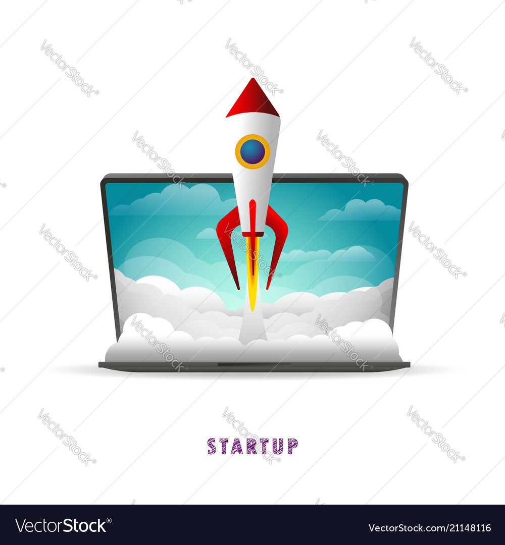 Startup the rocket takes off from the laptop