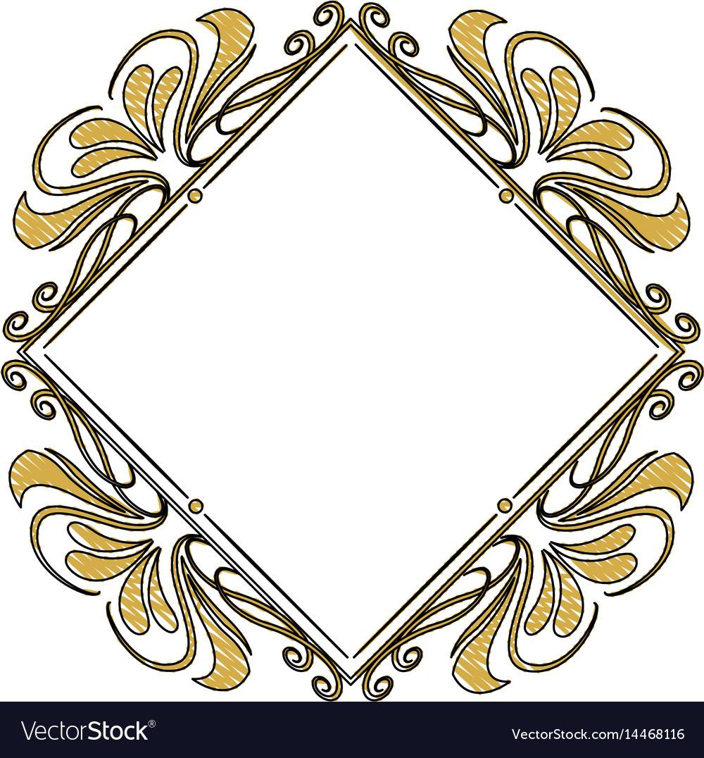 Vintage frame geometric decoration heraldry blank