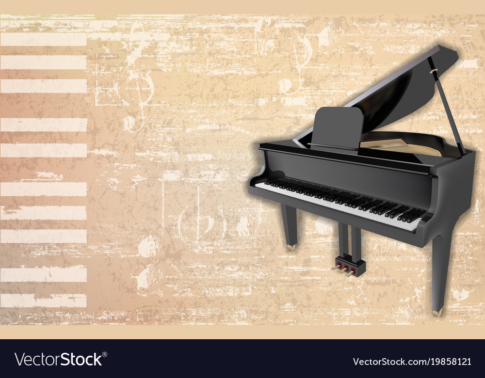 Abstract Grunge Background With Grand Piano Vector Image
