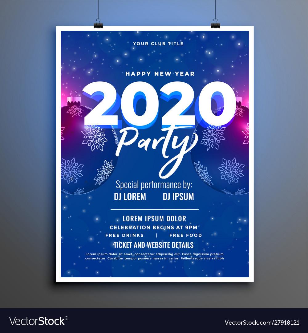 Blue 2020 party celebration new year flyer design