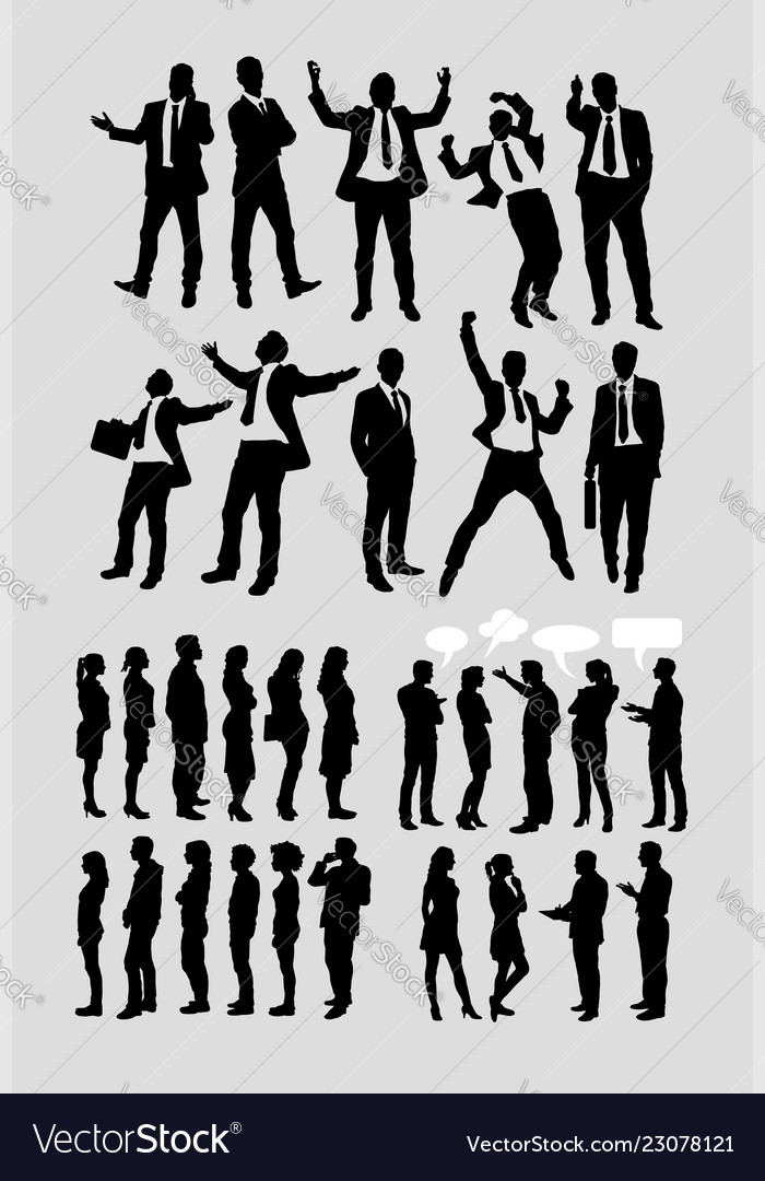 Businessman and people talking silhouette