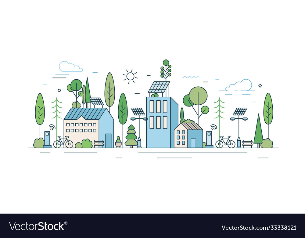Cityscape with modern eco friendly technology