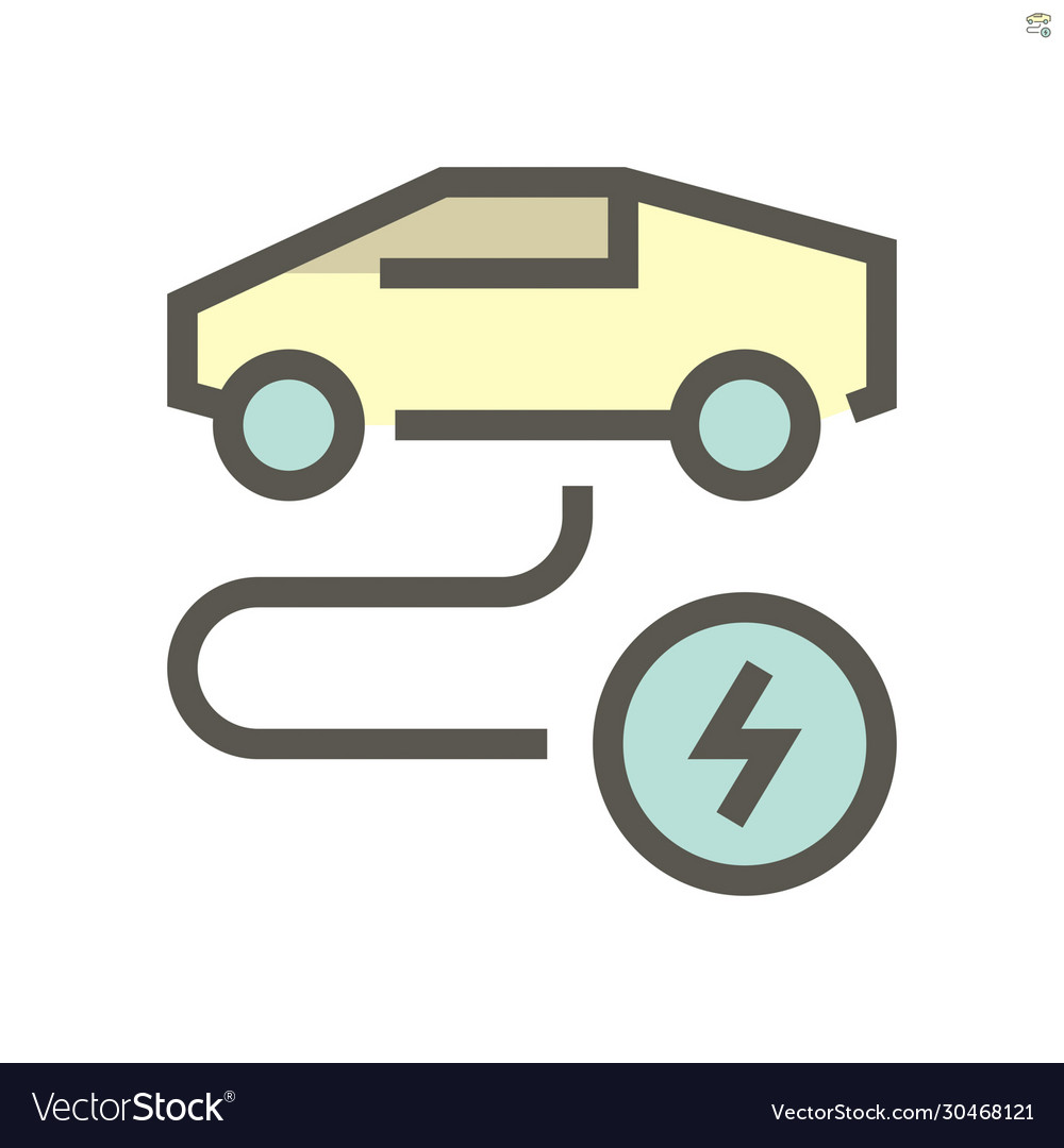 Electric Car Or Ev Car Charging Icon Design Vector Image