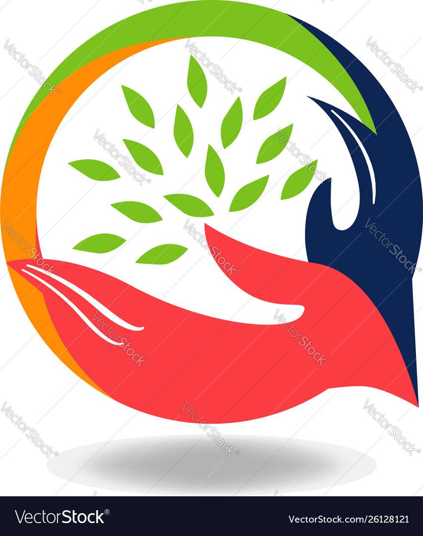Hand shake social charity cooperation logo sign