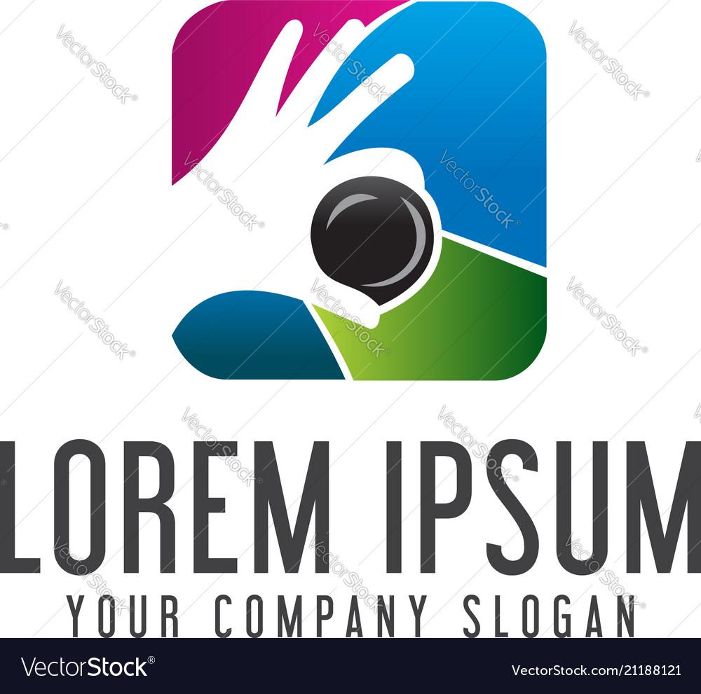 Photography hand lens logo media logo design