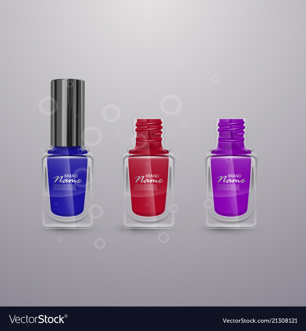 Set of realistic nail polishes of bright colors vector image on VectorStock