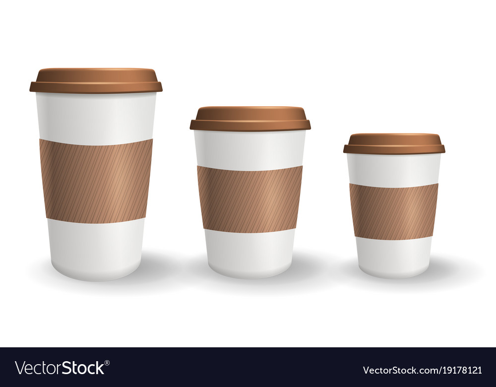 Set of realistic takeaway and to go paper coffee