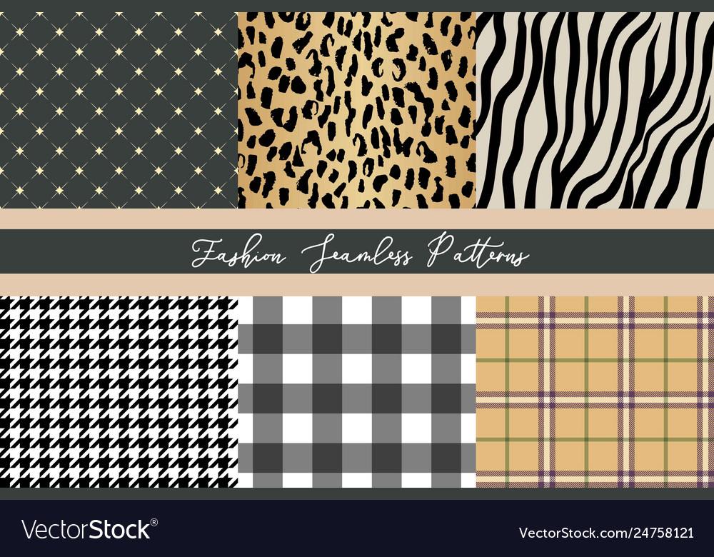 Set trendy fashion seamless patterns collection
