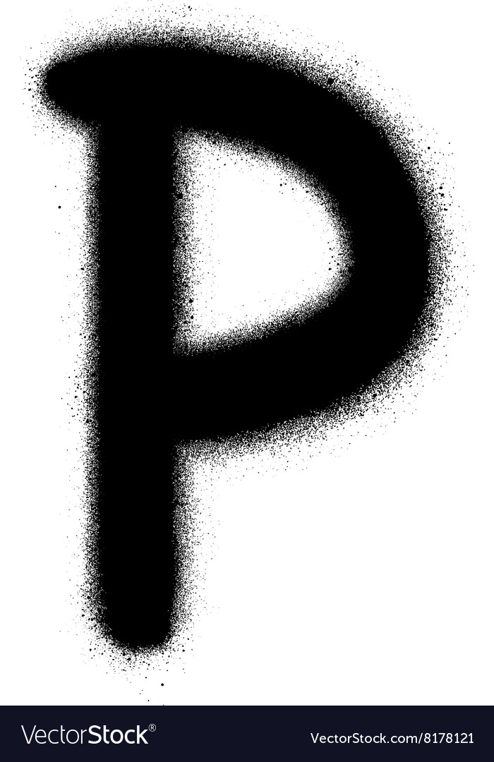 Sprayed P font graffiti in black over white vector image