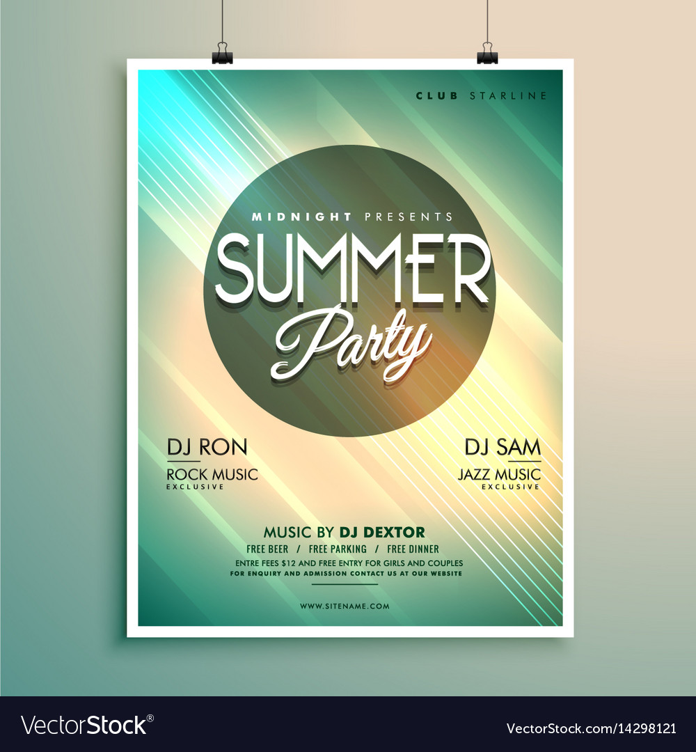 Summer music party flyer template with event vector image maxwellsz