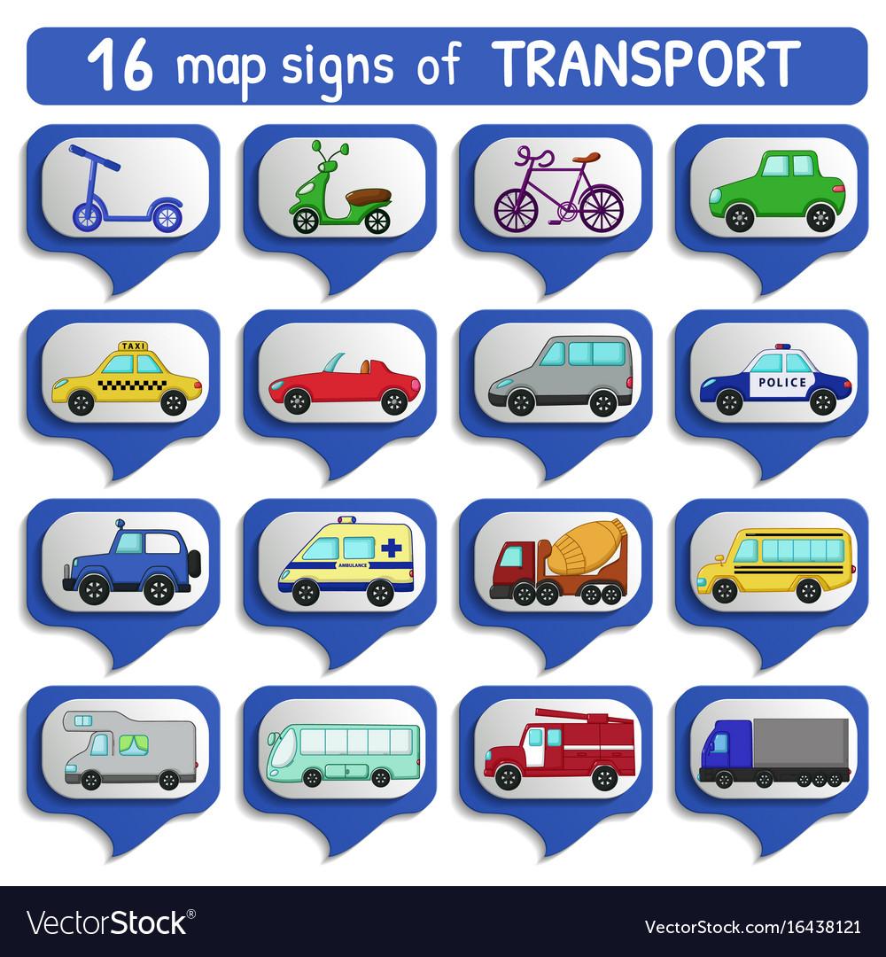 Urban transports map sign set