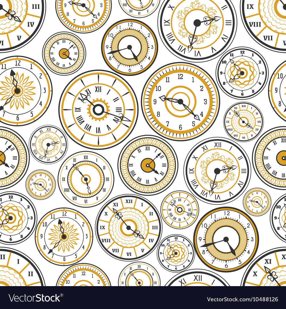 Black and gold watches seamless pattern