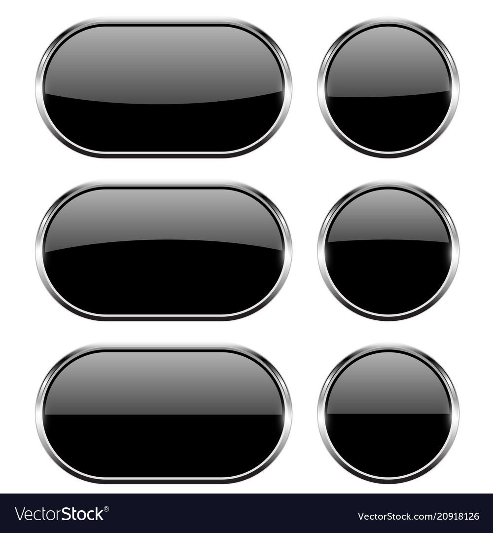 Black glass buttons with chrome frame 3d icons