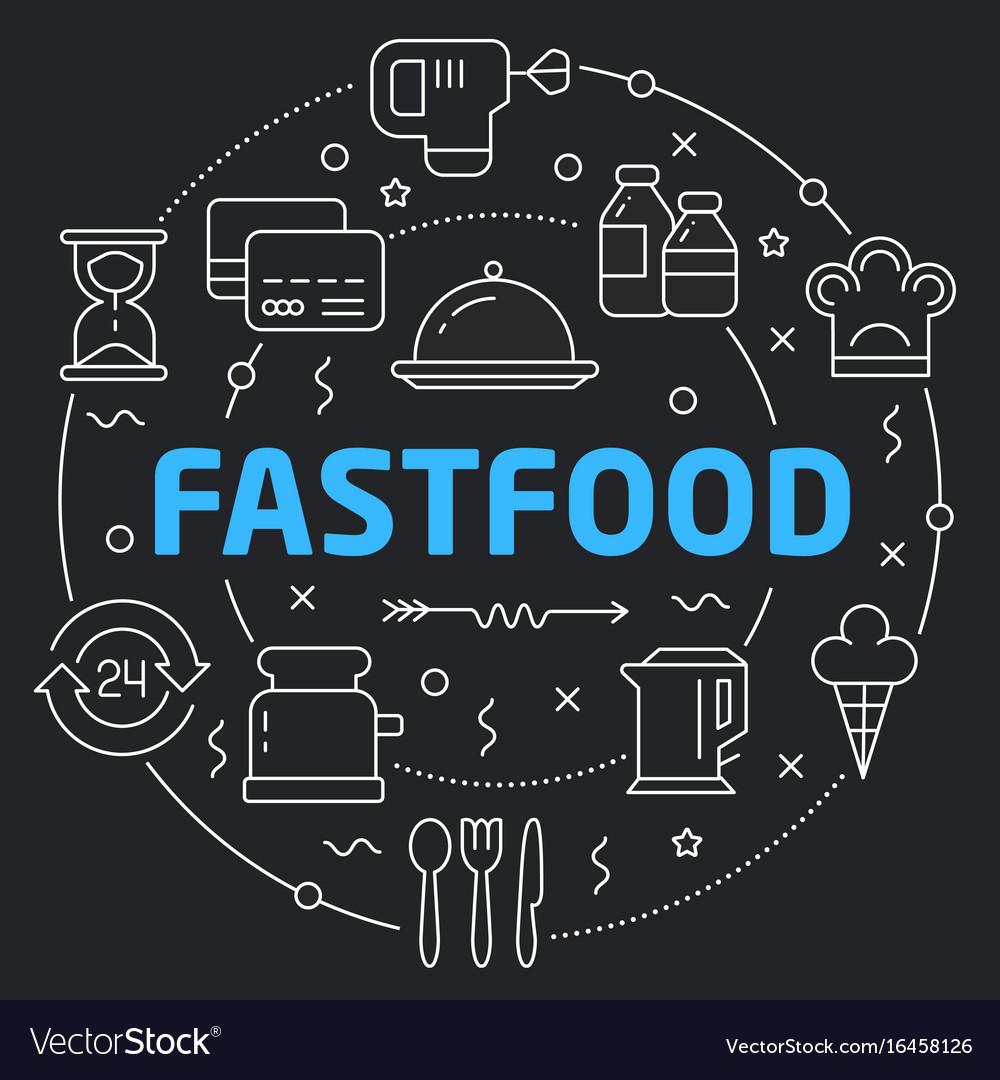 Black line flat circle fastfood