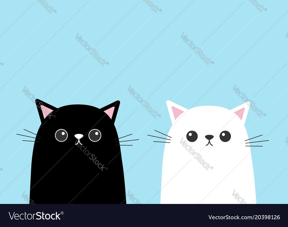 Black White Cute Cat Kitten Face Set Cartoon Vector Image
