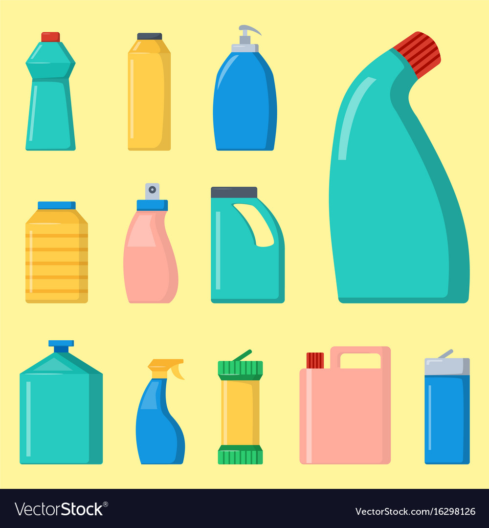 Bottles of household chemicals supplies cleaning vector image