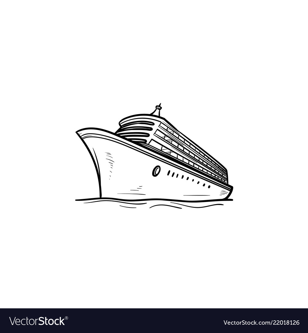 Cruise ship hand drawn outline doodle icon