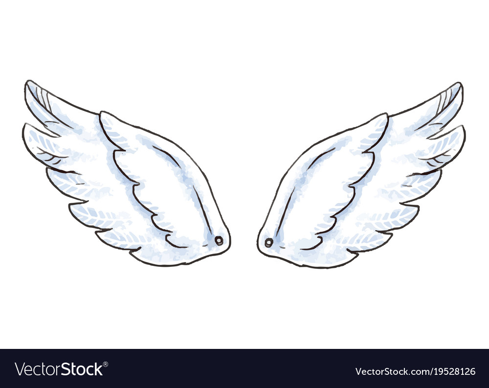 Cute Cartoon Wings With White Royalty Free Vector Image