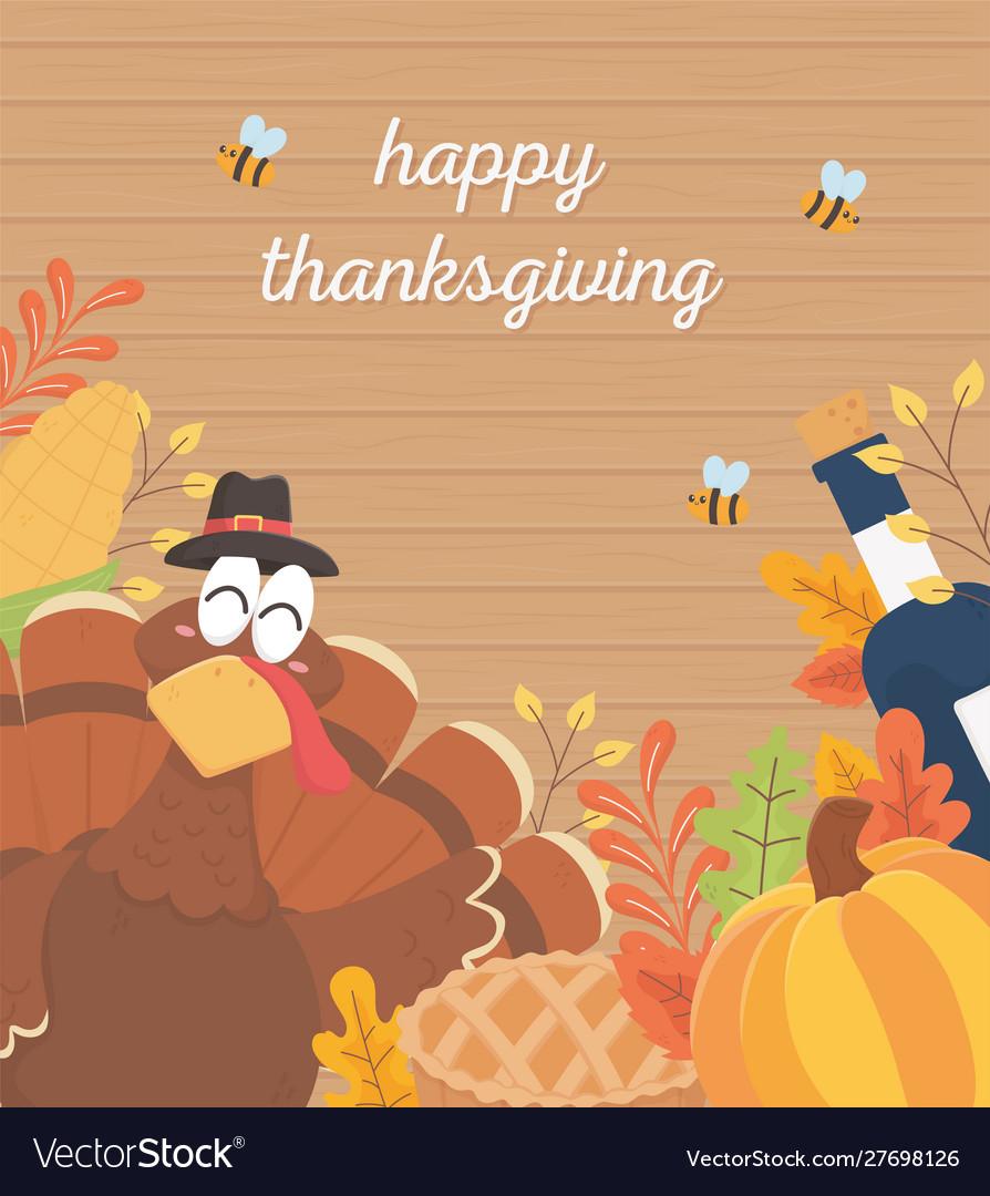 Happy thanksgiving poster turkey wine bottle