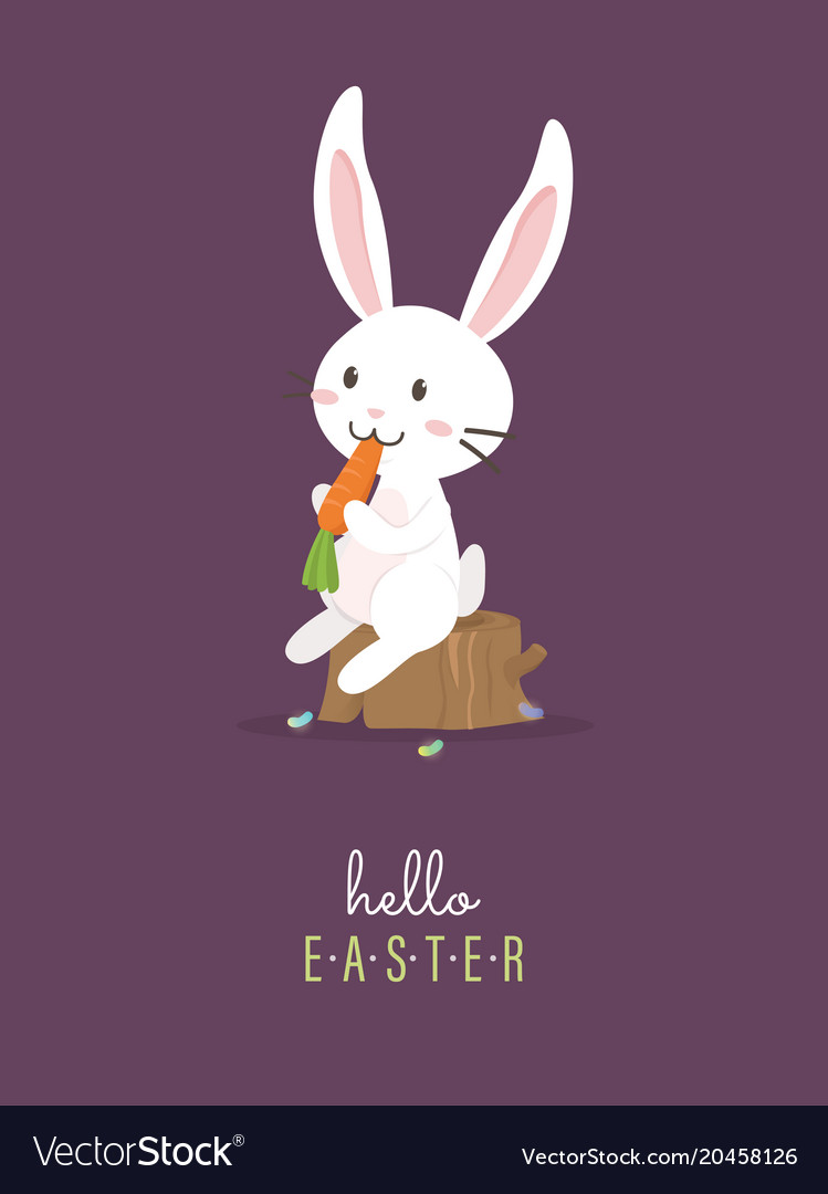 Hello easter with white easter rabbit