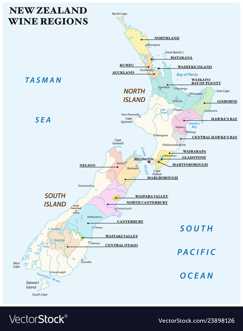 Map New Zealand Regions.Map With The Most Important Wine Regions Of New