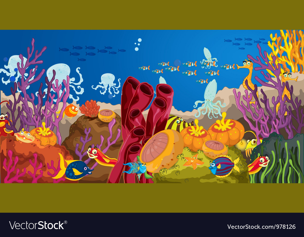 Octopus and coral in water vector image