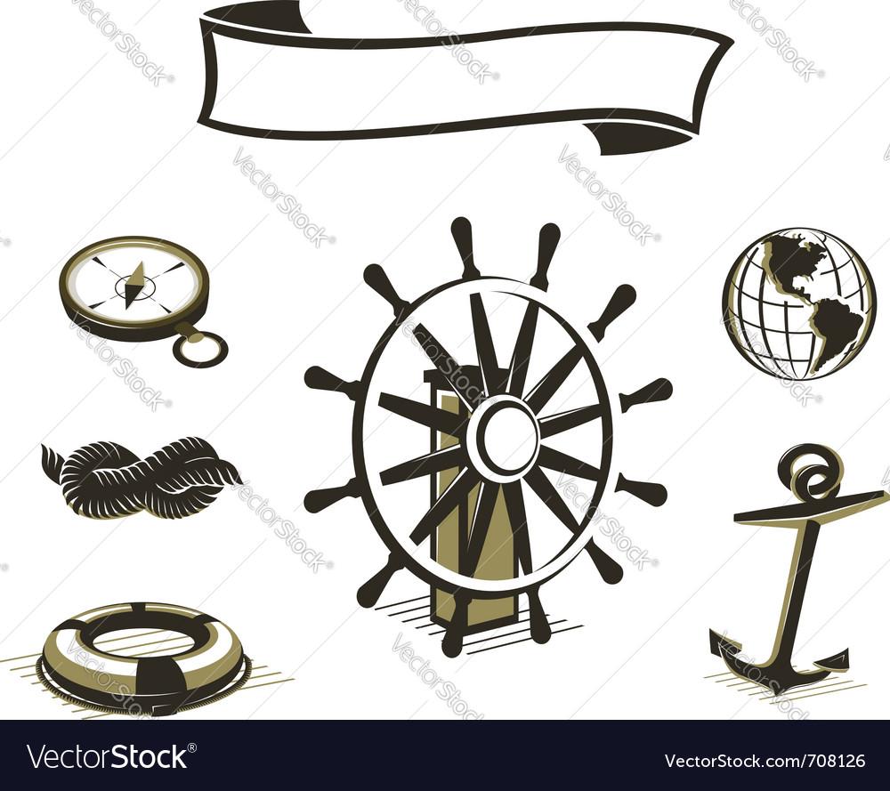 Sea icons set vector image