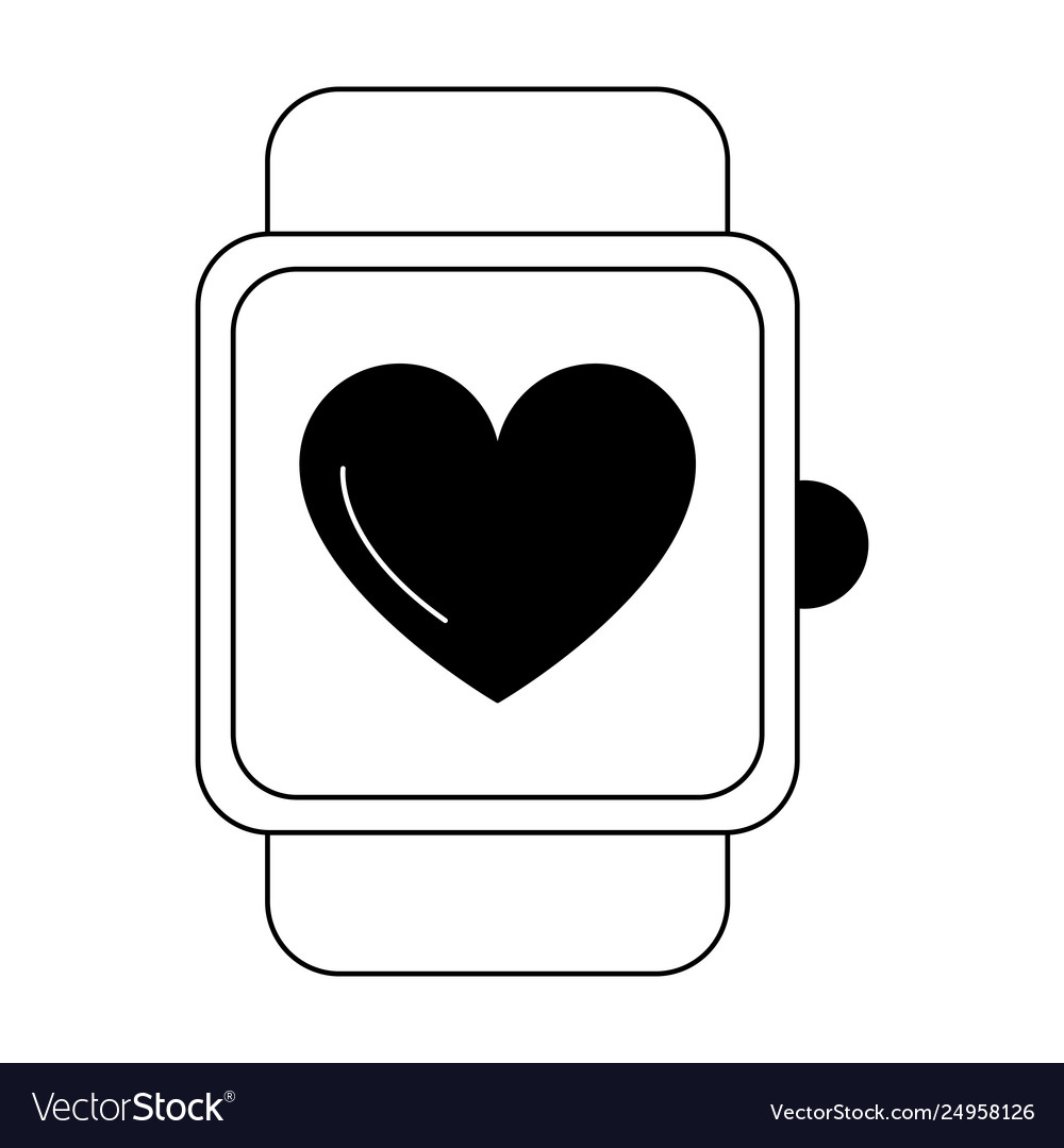 02ad35afd Smartwatch fitness tech black and white Royalty Free Vector
