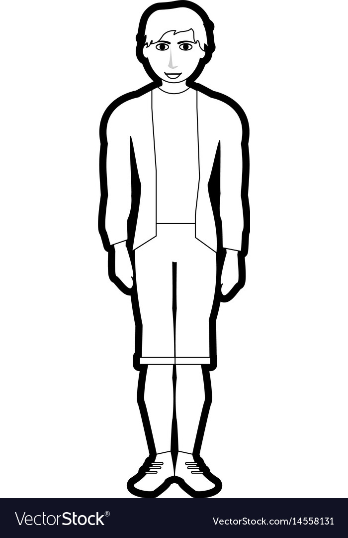 Black silhouette cartoon full body man with shorts vector image