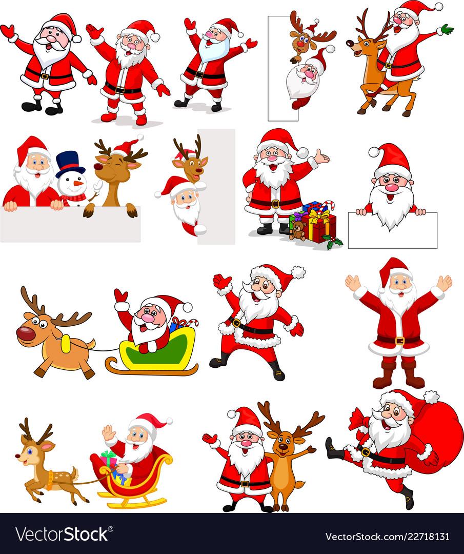 Cartoon santa claus collection set