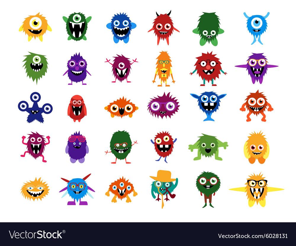 Cute monsters Big set of cartoon monsters