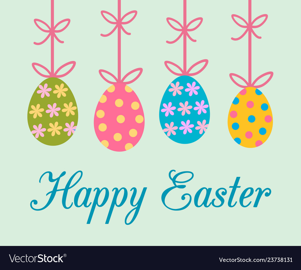 Easter greeting card with colorful decorated