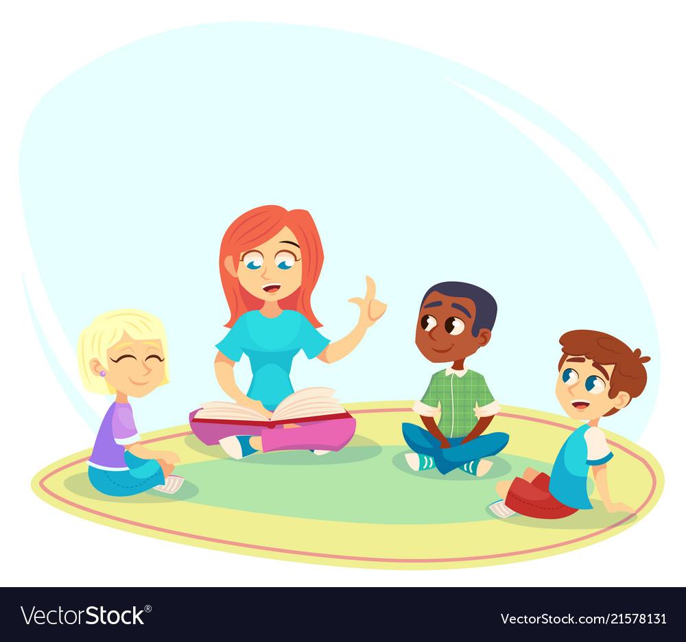 book children sit on floor in Vector Image