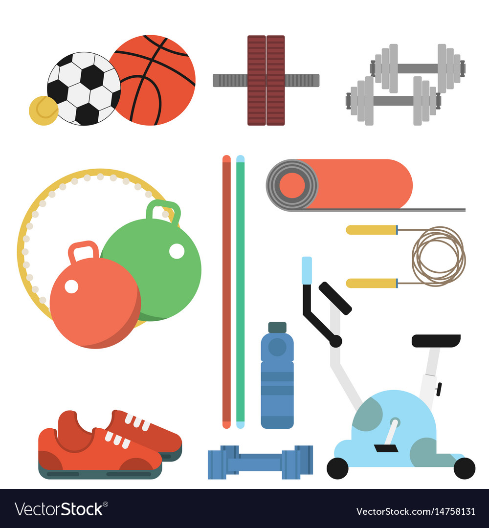 Fitness sport flat set vector image
