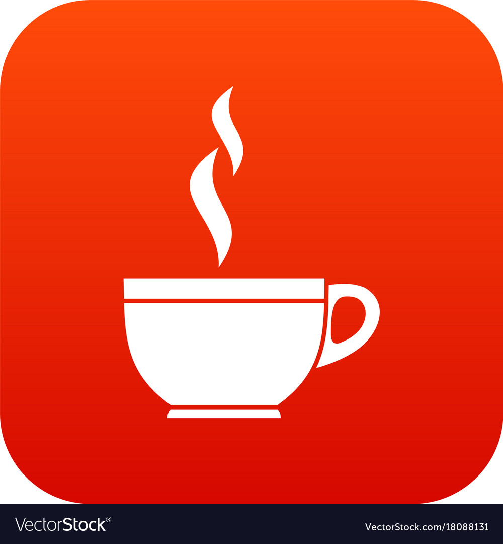 Glass cup of tea icon digital red