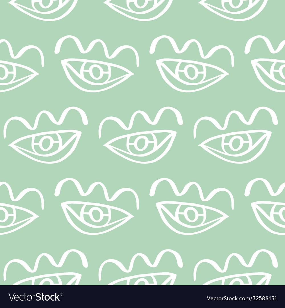 Hand drawn eye doodles seamless background