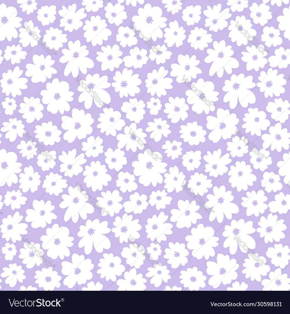 Hand drawn seamless with simple white daisy