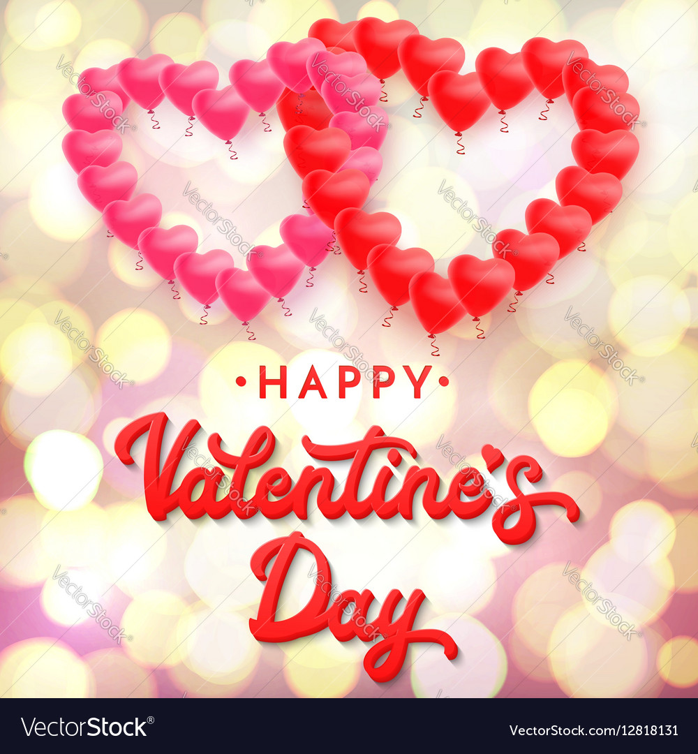 Happy Valentines Day 3d Lettering Inscription Vector Image