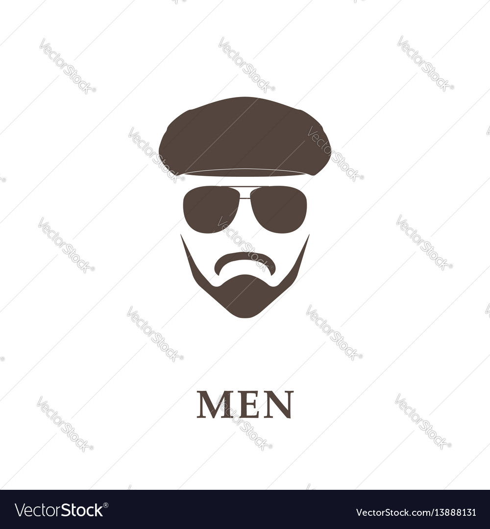 Head of bearded man with tweed cap and sunglasses