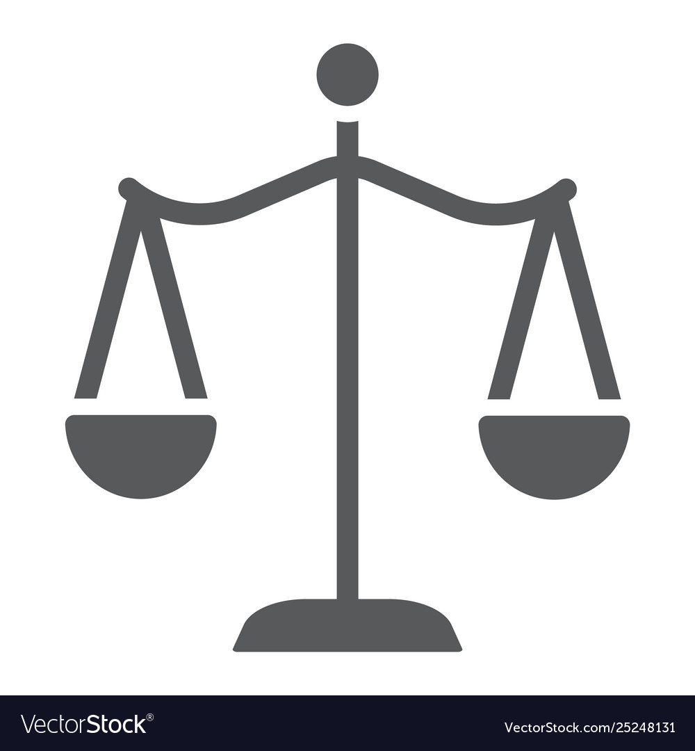 law scales glyph icon justice and law balance vector image