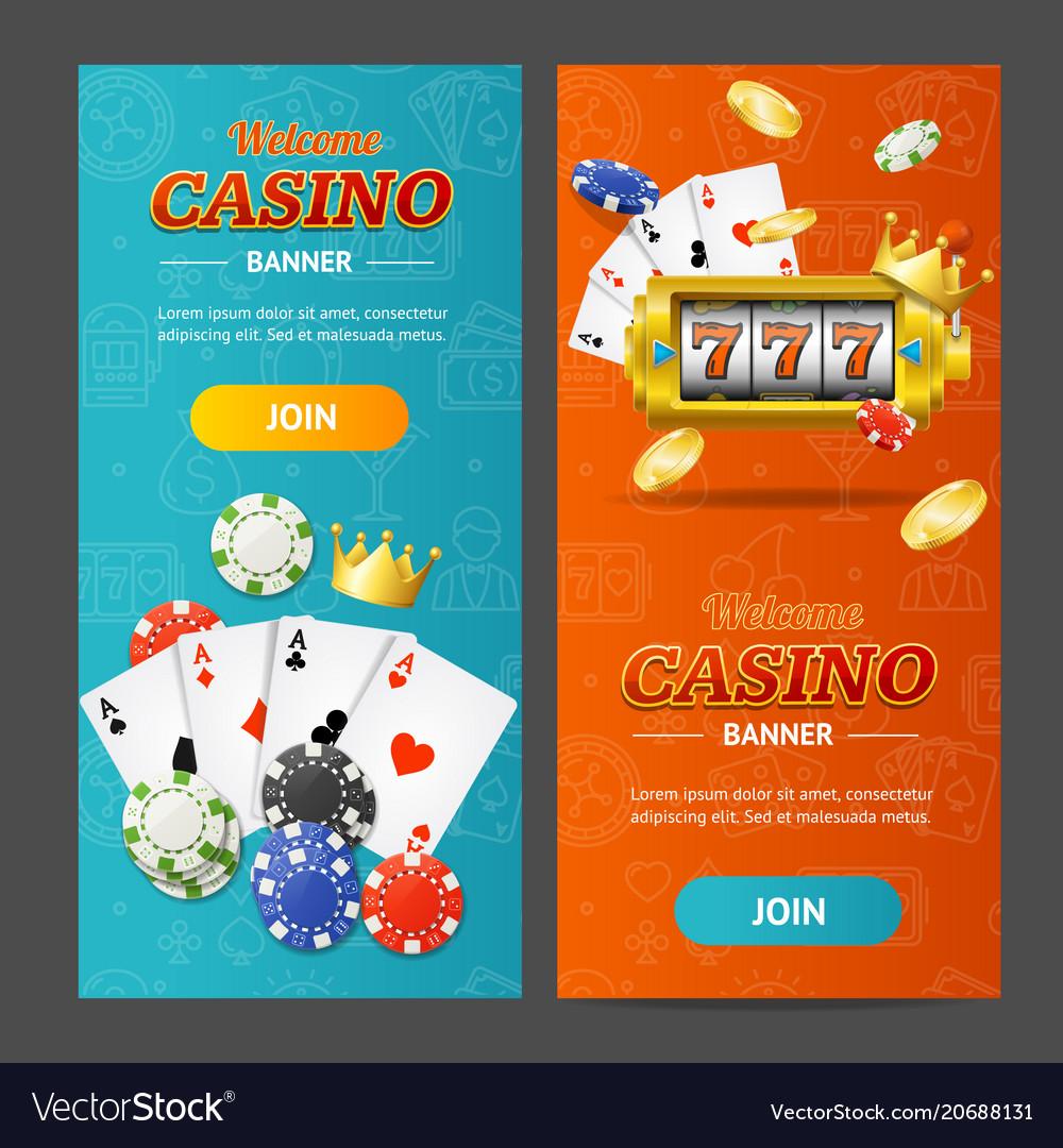 Realistic casino banner vertical set